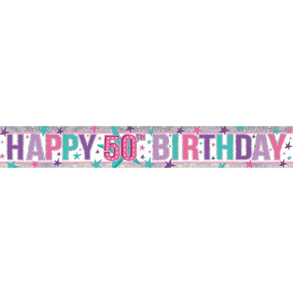 Holographic Pink Happy 50th Birthday Foil Banner